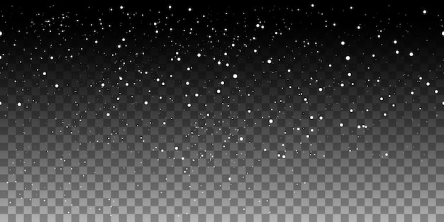 Snow seamless pattern on transparent background