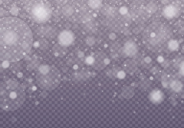 Snow, shining bokeh isolated on transparent background.