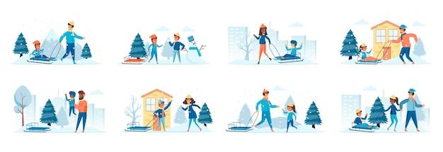 人々のキャラクターとのシーンの雪そり活動バンドル