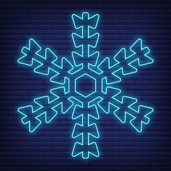 Snow snowflake icon glow neon style, concept weather condition outline flat vector illustration, isolated on black. brick background, web climate label stuff.