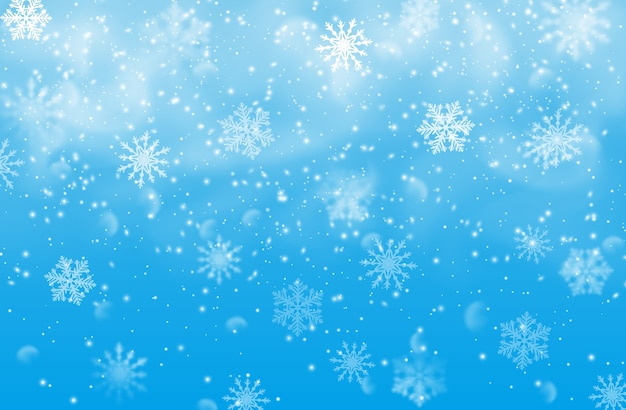 Snow and snowflakes on blue background, christmas or xmas holidays. winter snowfall effect of falling white snow flakes and shining cold ice, new year snowstorm or blizzard realistic backdrop