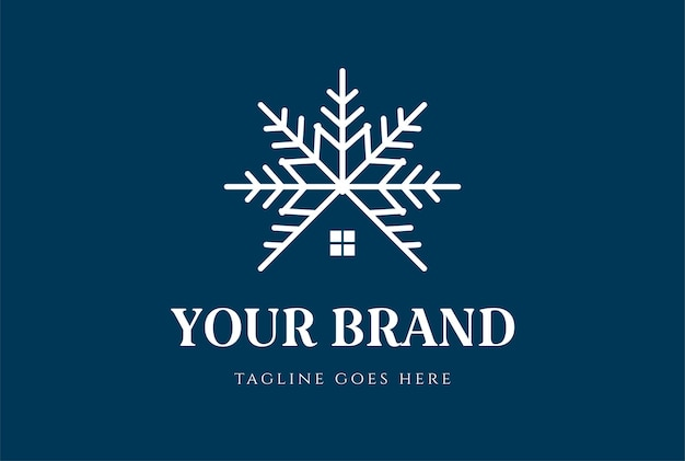 Snow symbol with house for cottage cabin chalet or real estate logo design vector