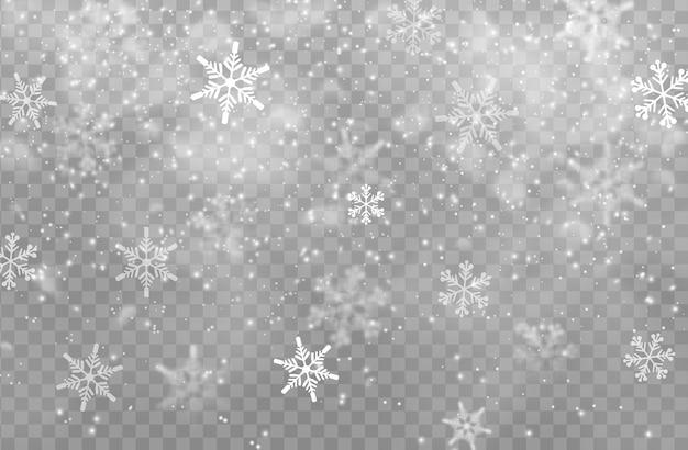 雪の透明な背景、クリスマスのデザイン。クリスマスと新年の冬休みの白い雪片、氷と霜の質感を持つ降る雪片の降雪効果、寒い雪の天気