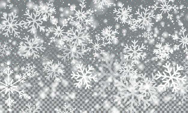 Snow on transparent background. christmas texture. falling snow.