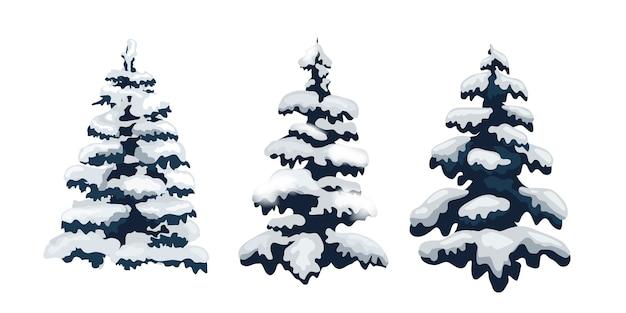 Snow trees set.