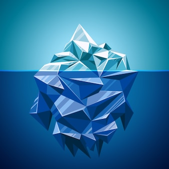 Snow vector iceberg mountain in polygonal style. water and sea, underwater and antarctic landscape