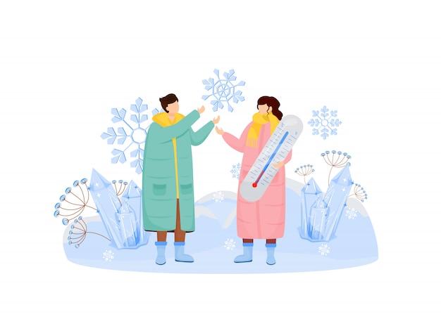 Снежная погода плоская концепция