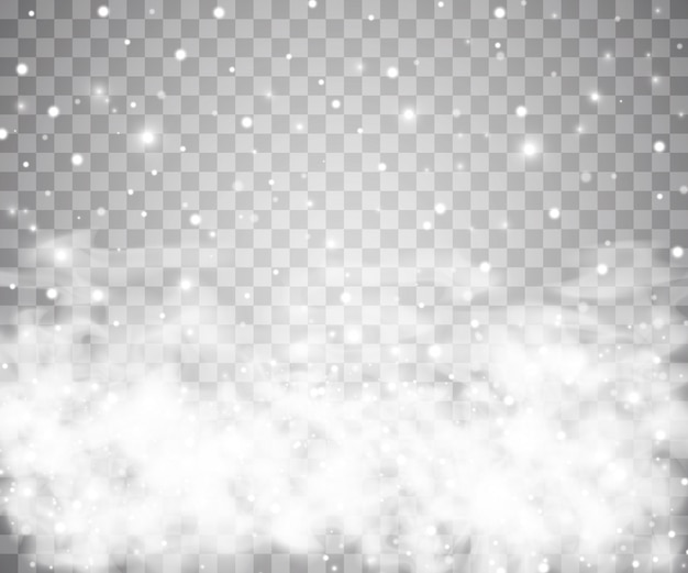 Snow and wind on a transparent background. white gradient decorative element.