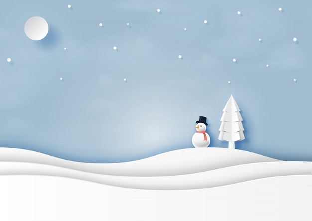 Snow and winter season landscape paper art style