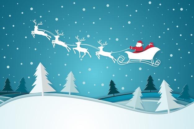 Снег с санта, едущим на санях в лесу. с новым годом и рождеством концепция