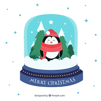 Snowball background with penguin