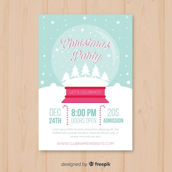 Snowball christmas party poster template