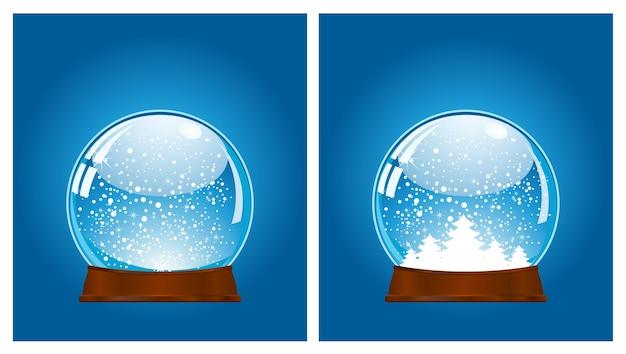 Снежный шар рождество 3d значок набор