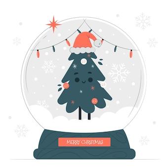 Иллюстрация концепции глобуса снежка