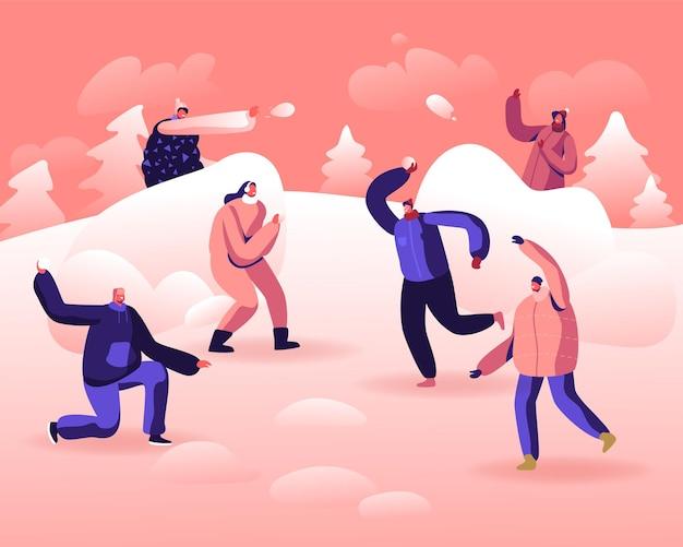 Снежки битва между командами друзей. мультфильм плоский иллюстрация