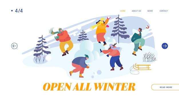 Снежки битва между командами друзей целевая страница веб-сайта. рождественские праздники.