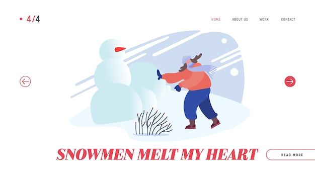 Целевая страница веб-сайта snowballs battle. Premium векторы