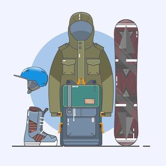 スノーボードアクセサリー。スポーツスポーツアイコンが設定されています。ストックベクタークリップアートのラインアートコレクション。