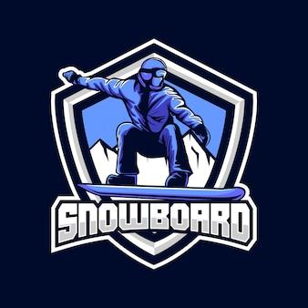 フラットなデザインのスノーボードバッジイラスト