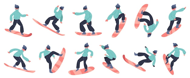 Snowboard character. young male snowboarder jump on mountain, winter extreme snow activity, fitness snowboard rider  illustration icons set. winter snowboard, snowboarder extreme