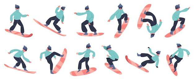 スノーボードのキャラクター。若い男性スノーボーダージャンプ山、冬の極端な雪の活動、フィットネススノーボードライダーイラストアイコンセット。冬のスノーボード、スノーボーダーエクストリーム
