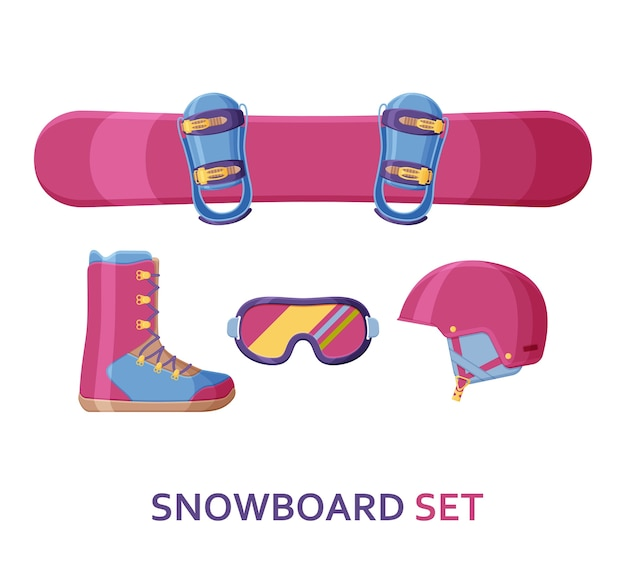 Snowboard collection. set with equipment, wear and shoes.