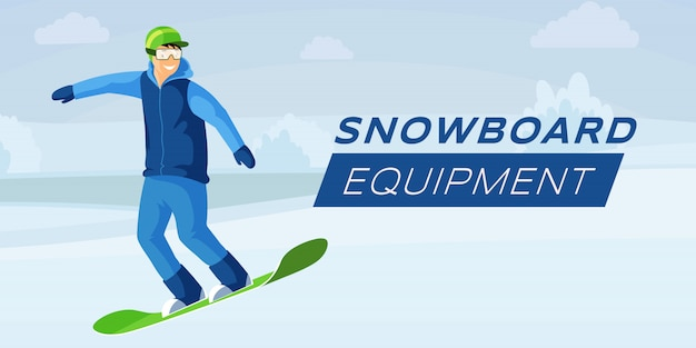 Snowboard equipment flat color banner template