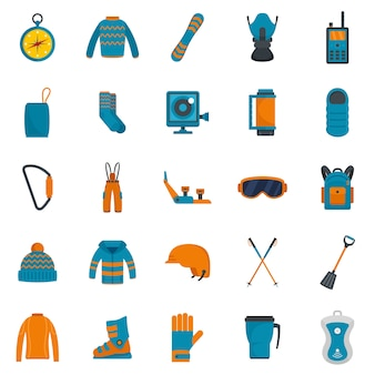 Snowboard equipment winter icons set