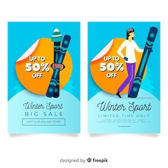 Snowboard girl winter sport sale banner