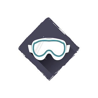 Дизайн логотипа очки сноуборд, символ. складе векторные иллюстрации с тенью. изолированные на белом фоне.