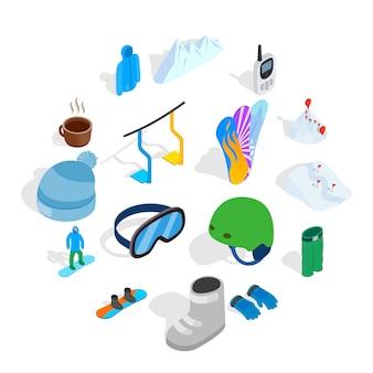 Snowboard icon set, isometric style