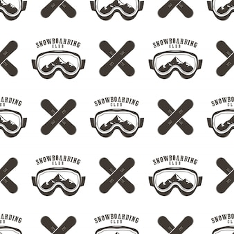 Snowboard pattern. winter ski seamless design with snowboards masks