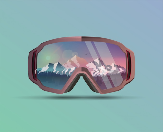 Snowboard protective mask with mountains landscape on reflection