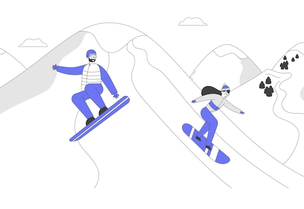 Snowboard riders characters having fun and winter mountain sports activity