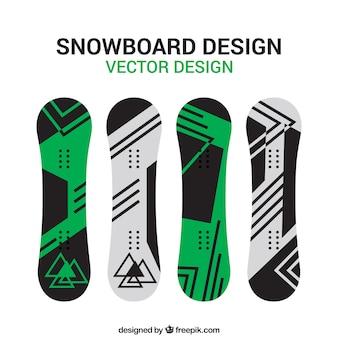 Сноуборд набор в минималистском дизайне Бесплатные векторы