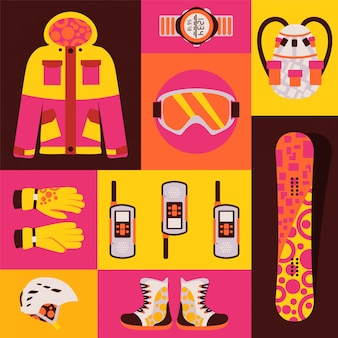 Snowboard sportswear, set of isolated accessories in colorful collage,  illustration