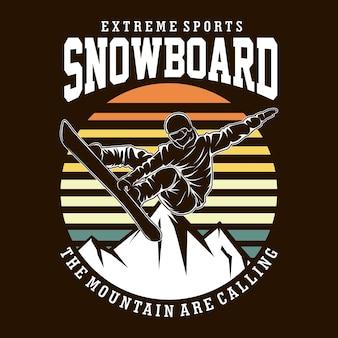 Snowboard t shirt illustration in flat design