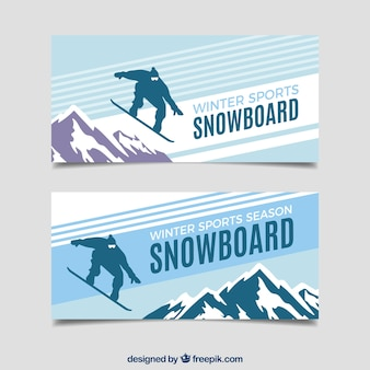 Snowboard winter sports concept banners
