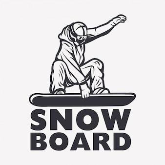 Сноубордист черно-белая иллюстрация элемента дизайна