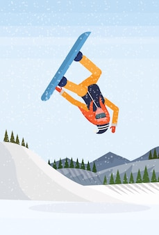 Snowboarder girl jumping