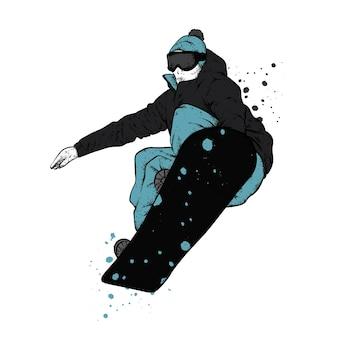 スタイリッシュな服を着たスノーボーダー