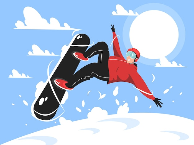 Snowboarder jumping with style character illustration