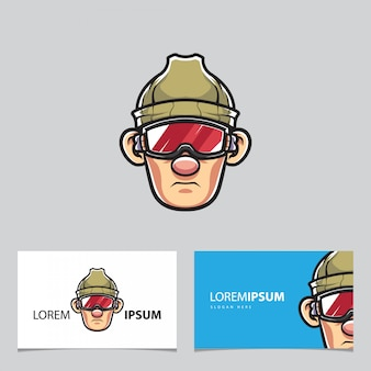 Snowboarder mascot and business cards