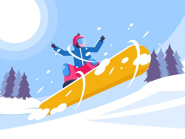 Snowboarder taking action