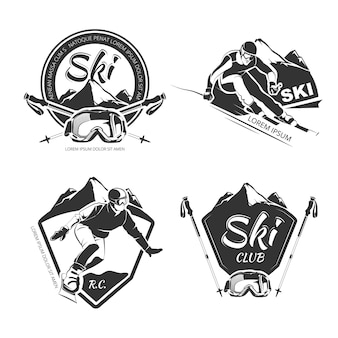 スノーボードとスキーのエンブレム、ラベル、バッジ、ロゴ。スキーのロゴ、スノーボードラベル、クラブスノーボード、スキー