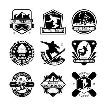Snowboarding badges