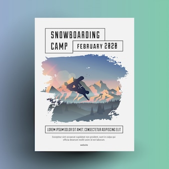 Snowboarding camp flyer or poster design template with snowboard rider dark silhouette on mountains landscape background.