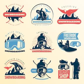 スノーボードエンブレムが山の極端な冬のスポーツのフリーライドとボードショップの説明ベクトルイラストの色に設定