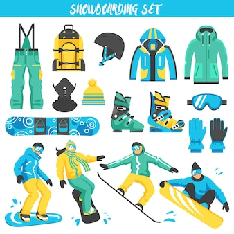 Snowboarding equipment colored set