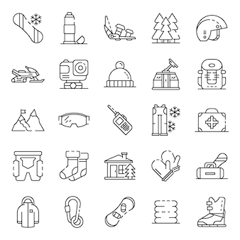 Snowboarding equipment icon set. outline set of snowboarding equipment vector icons